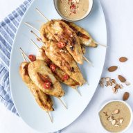 Chicken Satay Skewers with Almond Butter Satay Sauce