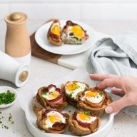 Gluten Free Egg, Bacon and Toast Cups