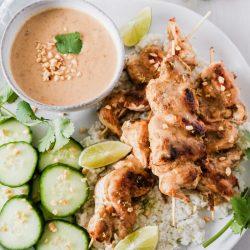 Satay Chicken with Coconut Cauliflower Rice