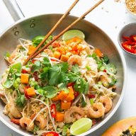 Better For You Pad Thai with Red Papaya