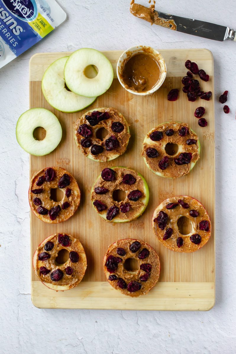 Apple 'Donuts' with Nut Butter Icing & Craisins GF snack