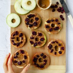 Apple Donuts with Nut Butter Icing & Craisins